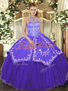 Purple Lace Up Sweet 16 Quinceanera Dress Beading and Embroidery Sleeveless Floor Length
