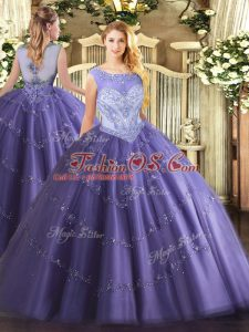 High Class Lavender Ball Gowns Tulle Scoop Sleeveless Beading Floor Length Lace Up Sweet 16 Quinceanera Dress