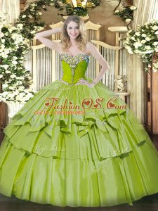 Perfect Olive Green Sleeveless Beading and Ruffled Layers Floor Length Sweet 16 Dresses