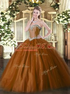 High End Rust Red Ball Gowns Tulle Sweetheart Sleeveless Beading Floor Length Lace Up Sweet 16 Dress