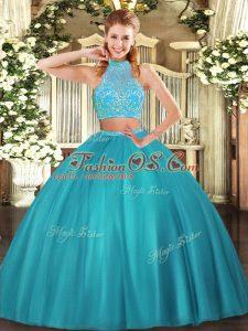 Aqua Blue Halter Top Neckline Beading Sweet 16 Quinceanera Dress Sleeveless Criss Cross