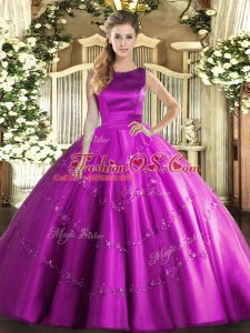 Sleeveless Appliques Lace Up Quince Ball Gowns