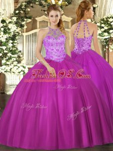 Great Floor Length Lace Up Quinceanera Dresses Fuchsia for Military Ball and Sweet 16 and Quinceanera with Beading