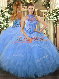 Beading and Ruffles Sweet 16 Dress Baby Blue Lace Up Sleeveless Floor Length
