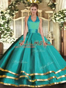High End Turquoise Ball Gowns Halter Top Sleeveless Tulle Floor Length Lace Up Ruffled Layers Sweet 16 Quinceanera Dress