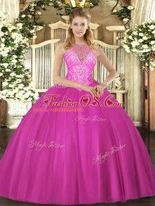 Beading Sweet 16 Quinceanera Dress Fuchsia Lace Up Sleeveless Floor Length