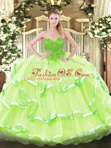 Fantastic Sleeveless Lace Up Floor Length Lace Sweet 16 Dress