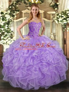 Stylish Lavender Tulle Lace Up Vestidos de Quinceanera Sleeveless Asymmetrical Beading and Ruffles