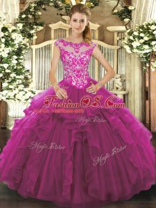 Unique Fuchsia Ball Gowns Beading and Ruffles Quinceanera Gown Lace Up Organza Sleeveless Floor Length