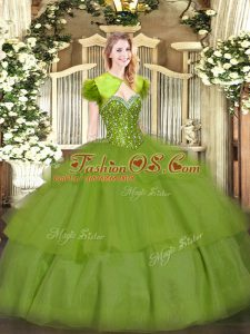 Sleeveless Floor Length Beading and Ruffled Layers Lace Up Quince Ball Gowns with Olive Green