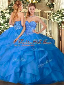 Cute Ball Gowns Sweet 16 Dresses Blue Sweetheart Tulle Sleeveless Floor Length Lace Up