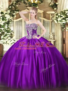 Graceful Purple Strapless Neckline Beading Ball Gown Prom Dress Sleeveless Lace Up