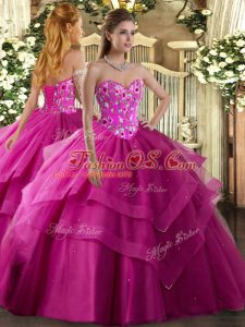Deluxe Fuchsia Sweetheart Neckline Embroidery and Ruffled Layers Ball Gown Prom Dress Sleeveless Lace Up