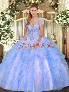 Floor Length Baby Blue Vestidos de Quinceanera Strapless Sleeveless Lace Up
