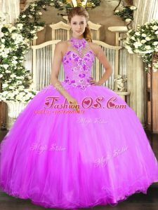 Sleeveless Tulle Floor Length Lace Up Quinceanera Dress in Lilac with Beading and Embroidery