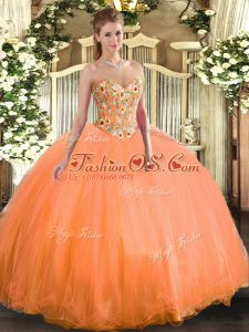 Orange Sweetheart Lace Up Embroidery Quince Ball Gowns Sleeveless