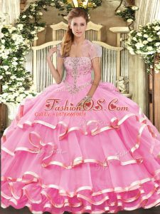Floor Length Rose Pink 15th Birthday Dress Strapless Sleeveless Lace Up