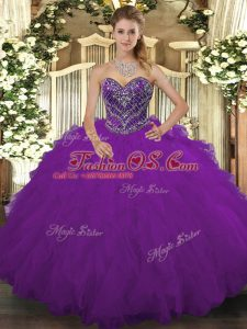 Purple Quince Ball Gowns Military Ball and Sweet 16 and Quinceanera with Beading and Ruffled Layers Sweetheart Sleeveless Lace Up
