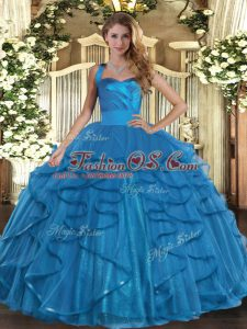 Stylish Teal Ball Gown Prom Dress Military Ball and Sweet 16 and Quinceanera with Ruffles Halter Top Sleeveless Lace Up