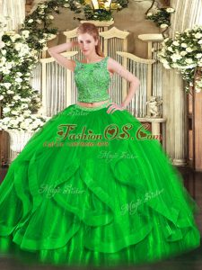 Glittering Scoop Sleeveless Lace Up Sweet 16 Dresses Green Organza