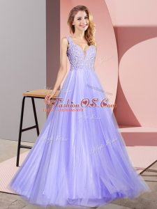 Tulle Sleeveless Floor Length Evening Dress and Lace