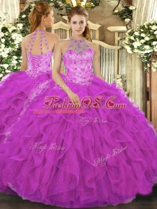 Affordable Fuchsia Organza Lace Up Halter Top Sleeveless Floor Length Quinceanera Gown Beading and Embroidery and Ruffles