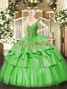 Ball Gowns Beading and Ruffled Layers Quinceanera Gowns Lace Up Organza and Taffeta Sleeveless Floor Length