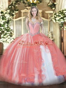 Coral Red Tulle Lace Up 15 Quinceanera Dress Sleeveless Floor Length Beading and Ruffles