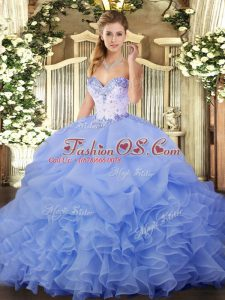 Perfect Organza Sweetheart Sleeveless Lace Up Beading and Ruffles and Pick Ups Quince Ball Gowns in Lavender