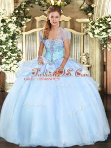Custom Made Light Blue Lace Up Quinceanera Gowns Appliques Sleeveless Floor Length