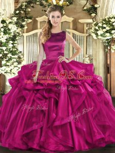 Floor Length Fuchsia Quinceanera Gown Scoop Sleeveless Lace Up