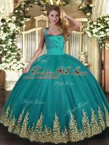 Trendy Turquoise Sleeveless Appliques Floor Length Ball Gown Prom Dress