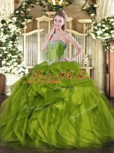 Floor Length Olive Green Quinceanera Dresses Sweetheart Sleeveless Lace Up