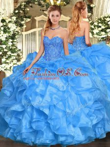 Sweetheart Sleeveless Quince Ball Gowns Floor Length Beading and Ruffles Baby Blue Organza