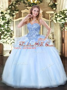 Organza Sweetheart Sleeveless Lace Up Appliques Ball Gown Prom Dress in Light Blue