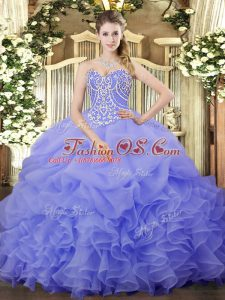 Designer Lavender Sleeveless Floor Length Beading and Ruffles and Pick Ups Lace Up Sweet 16 Quinceanera Dress