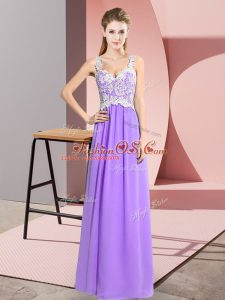 Superior Floor Length Lavender Party Dress Wholesale Chiffon Sleeveless Lace