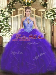 Purple Sleeveless Organza Lace Up 15 Quinceanera Dress for Military Ball and Sweet 16 and Quinceanera
