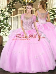 Floor Length Baby Pink 15 Quinceanera Dress Tulle Sleeveless Beading and Ruffles
