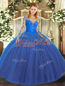 Tulle Scoop Long Sleeves Lace Up Lace Vestidos de Quinceanera in Blue