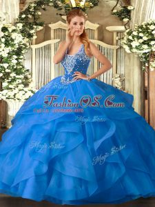 Baby Blue Tulle Lace Up Sweet 16 Dress Sleeveless Floor Length Beading and Ruffles
