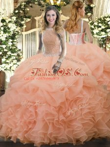Peach Sleeveless Organza Lace Up Quince Ball Gowns for Military Ball and Sweet 16 and Quinceanera