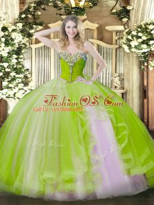 Captivating Yellow Green Lace Up Sweetheart Beading and Ruffles Quinceanera Dress Tulle Sleeveless