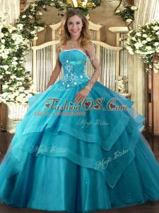Cute Floor Length Ball Gowns Sleeveless Teal Quinceanera Dress Lace Up