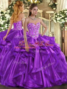 Spectacular Floor Length Lace Up Quinceanera Dress Eggplant Purple for Sweet 16 and Quinceanera with Embroidery and Ruffles