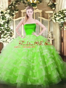 Clearance Sleeveless Tulle Floor Length Zipper 15th Birthday Dress in with Ruffled Layers