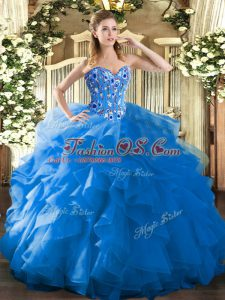 Vintage Embroidery and Ruffles 15th Birthday Dress Blue Lace Up Sleeveless Floor Length