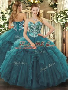 Turquoise Sleeveless Tulle Lace Up Sweet 16 Dress for Military Ball and Sweet 16 and Quinceanera