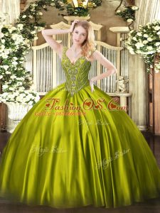 V-neck Sleeveless Satin 15 Quinceanera Dress Beading Lace Up