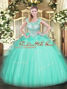 Artistic Floor Length Ball Gowns Sleeveless Apple Green Sweet 16 Dress Lace Up